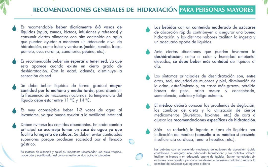 RECOMENDACIONES GENERALES DE HIDRATACIÓN PARA LAS PERSONAS MAYORES